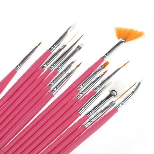 15pcs Acrylic Nail Art Design Painting Tool Pen Polish Brush Set Kit