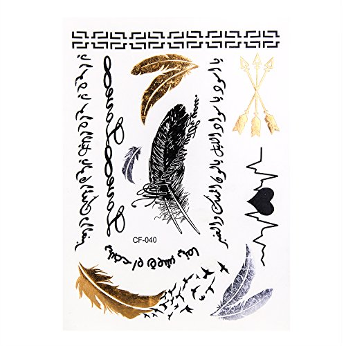 12 Sheets Premium Metallic Flash Tattoos Over 150 Design Body Art Henna Sticker Patten Type Lace Feathers Bird Diy Letters Crown Deer Lips Temporary Tattoos Kit Store