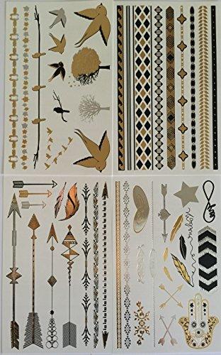 e2ac6e678 Temporary Tattoos - 4 Pages of Beautiful Metallic Tattoo Flash ...